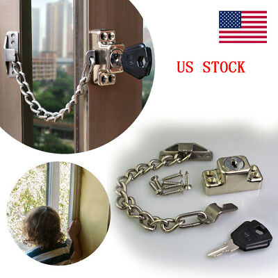 US STOCk Window Door Restrictor Security Cable Key Lock Kids Safety Catch Wire