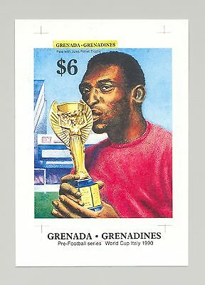 Grenada Grenadines 1990 Soccer Imperf Proof of S/S Black Text Instead of Silver