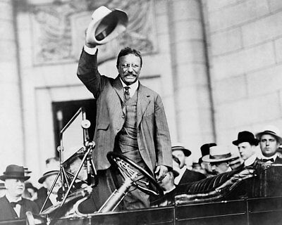 Theodore Teddy Roosevelt Gesture from Car 8x10 Silver Halide Photo Print