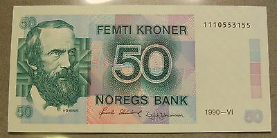 1972 Norway 50 Femti Kroner - Choice UNC+ Uncirculated Banknote SN: 1110553155