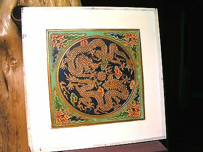 Antique Wooden Asian Wall Tile HAND PAINTED 0999