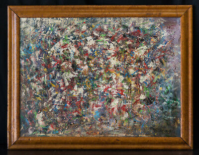 Canadian Listed Artist Leon Bellefleur 1910-2007 Abstract Original Oil Painting