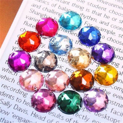 20/50PCS Rainbow AB Acrylic Flatback Round Rhinestone Gems Sew on 2 Hole 6-20mm