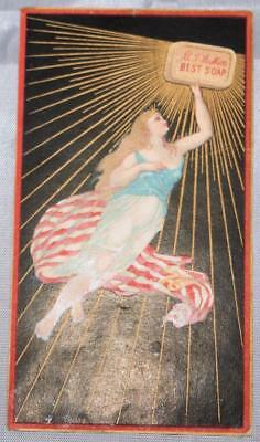 Antique Victorian Trade Card Patriotic Lady Liberty in Flag Babbitt's Best Soap