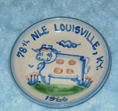 1966 M.A. Hadley Pottery Mini Cow Plate Louisville KY 78th NLE (Livestock Expo)