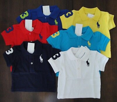 NWT Ralph Lauren Infant Boys S/S Big Pony Mesh Polo Shirt 3m 6m 9m 12m 18m 24m