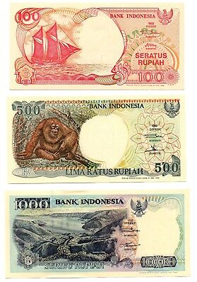 INDONESIA 100 / 500  and 1000 Rupiah - A Set of 3 Crisp UNC Banknotes
