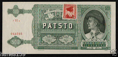 CZECHOSLOVAKIA (P54a) 500 Korun ND(1945) XF+ Not Perforated