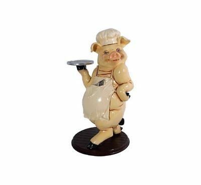 Pig Statue Butler Figurine Piggy Cook Holding Tray Restaurant Display Prop