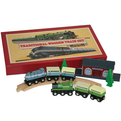 NEW Retro Range Traditional Wooden Train Set w/ Track Platforms Engines and Cars