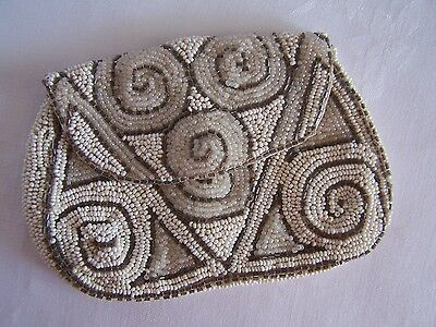 Fab VINTAGE Beaded COIN Purse Bag Wallet Made in France Very good Condition