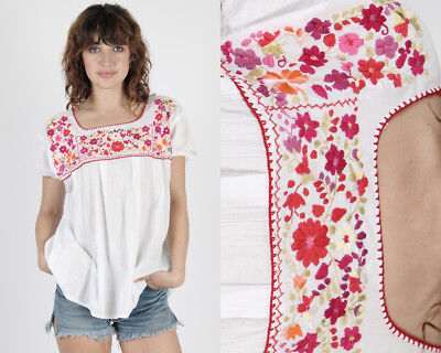 Vintage 70s Mexican Floral Tunic Ethnic Embroidered Boho Festival Draped Top S
