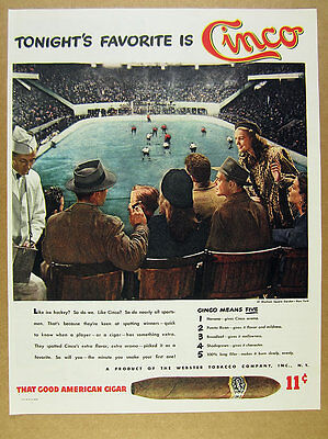 1946 Ice Hockey at Madison Square Garden photo Cinco Cigars vintage print Ad