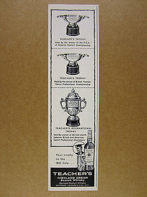 1960 Teacher's Scotch Whisky Senior Pro Golf Trophies vintage print Ad