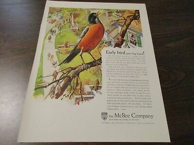 McBee Company - New York - Early Bird - Robin -  Red Breast  1946 Print Ad