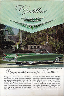 Vintage 1960 green Cadillac Automobile Ad Car Advertising emeralds & diamonds