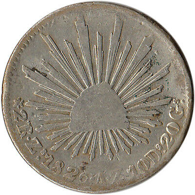 1826 (ZS) Mexico 2 Reales Silver Coin KM#374.12