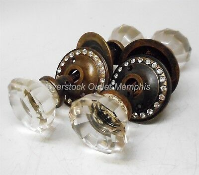 Two Glass or Crystal Door Knobs Sets with Shafts & Allen Wrench