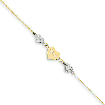 14K Two-tone  D/C Puffed Hearts MOM w/ 1in Ext Anklet ANK254