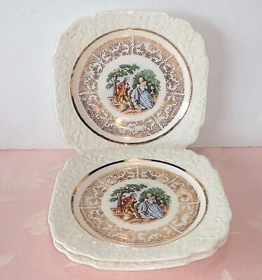 "Harker Pottery 3 Square Plates 6.75"" Courting Couple Embossed Floral Rim Gold"
