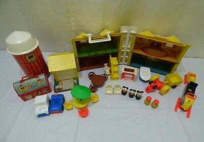 Vintage Fisher-Price #952 Play Family House #915 Silo Farm Little People LOT