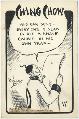 Stanley Link CHING CHOW Original Daily Cartoon ART of Chinese Philosopher, 1940