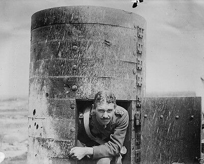 New 8x10 Photo- British soldier looking out of captured German observation post