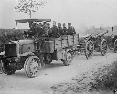 New World War I WWI 8x10 Photo - French soldiers on a truck pulling a siege gun