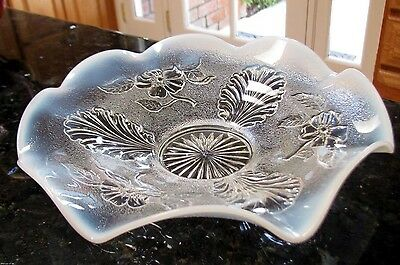 "Northwood 1905 Stippled ""Blossoms and Palms""  Opalescent Low Profile Glass Bowl"