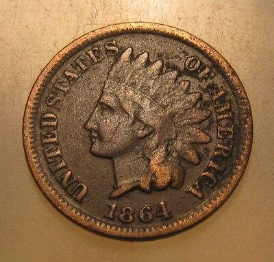 1864 L (partially visible) Indian Head Cent Penny - Fine Condition - 85FR