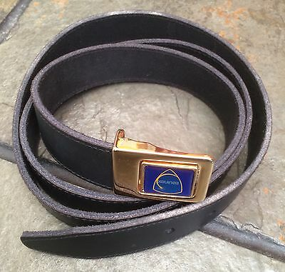Mens Belt Genuine Leather Black Hidden Brass Colour Stud Buckle One Size Equinox