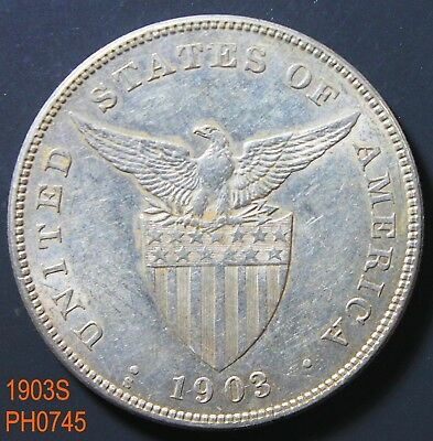 PHILIPPINES Peso 1903-S circulated with high detail and some luster