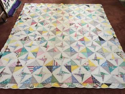 1930's Feed Sack Double Pin Wheel Antique Quilt