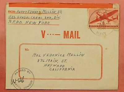1944 V-Mail Naval Uss Guadalcanal Ship's Mail Wwii Censored