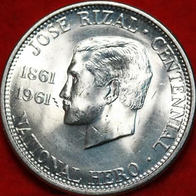 Uncirculated 1961 Philippines 1/2 Peso Silver Foreign Coin Free S/H