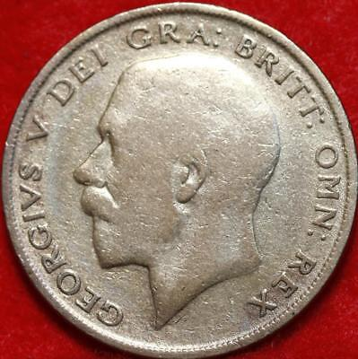 1921 Great Britain 1/2 Crown Silver Foreign Coin Free S/H