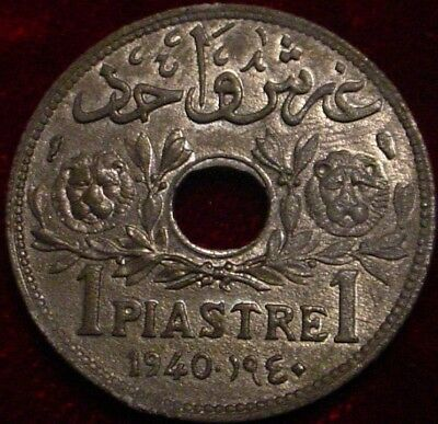 **rare**hi Grade 1940 1 Piastre Arab State Of Lebanon**very Scarce In Hi Grade**