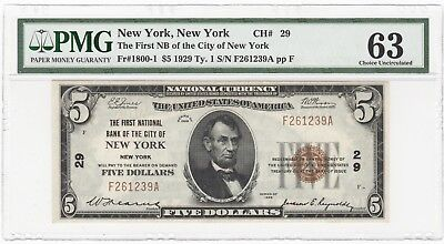 1929 US First NB City of New York $5 National Bank Note FR# 1800-1 - PMG UNC 63