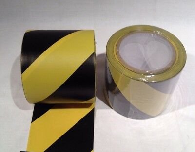 3 x 100mm x 33m BLACK/YELLOW FLOOR MARKING TAPE Adhesive PVC Warehouse Hazard