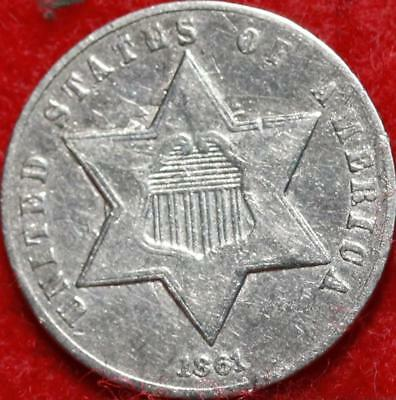 1861 Philadelphia Mint Silver Three Cent Coin Free Shipping