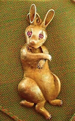 Large Vintage 14Ct Gold Bunny Rabbit Pendant With Rubi Eyes ,  Not Scrap Gold .