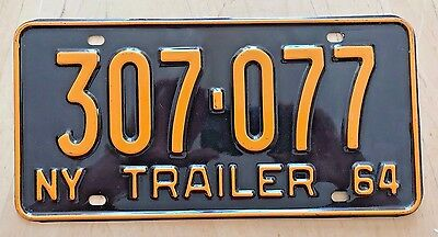 "1964 New York Trailer License Plate "" 307 077 "" Ny 64 All Original Condition Trl"