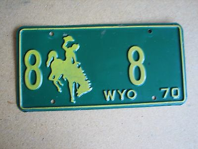 "1970 Wyoming License Plate "" 8   8 ""  Low #  Wyo 70   Neat Number Platte County"