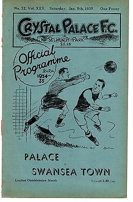 Crystal Palace v Swansea Town Reserves Programme 5.1.1935