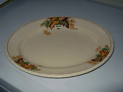 New Hall Pottery Oval Plate With An Autumn Leaves Pattern