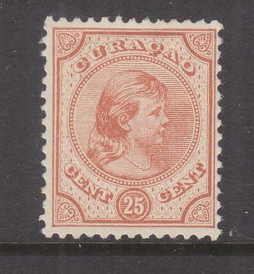 CURACAO, 1892 Wilhelmina, 25c. Orange Brown, lhm., small piece of paper on back.