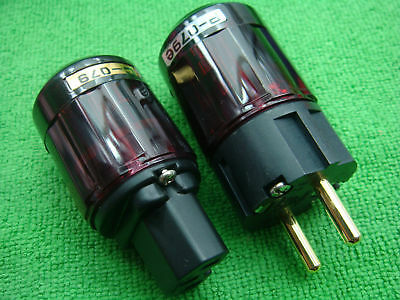 5 SET Gold Plated C-079 IEC + P-079e Schuko Eu plug NEW