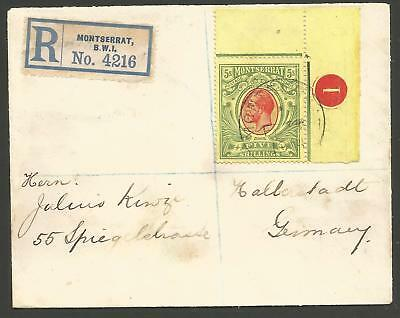 Montserrat Sg48 1914 Gv 5/- Fine Used With Plate No 1 On Reg Env To Germany Rare