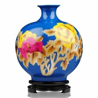 Delicate Chinese Porcelain Famille Rose Hand-Painted Peony Flower Vase