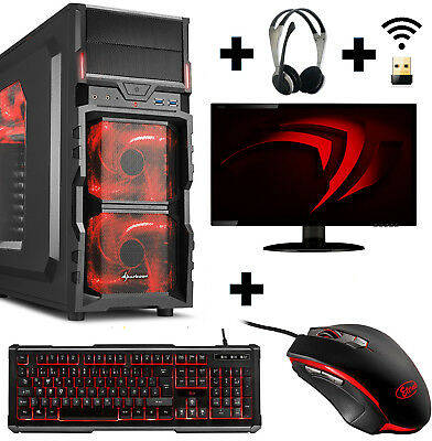 Gamer PC Komplett-Set AMD 9600 4x 3,4Ghz A8 Radeon R7 8GB 1TB Gaming Win10 Wlan
